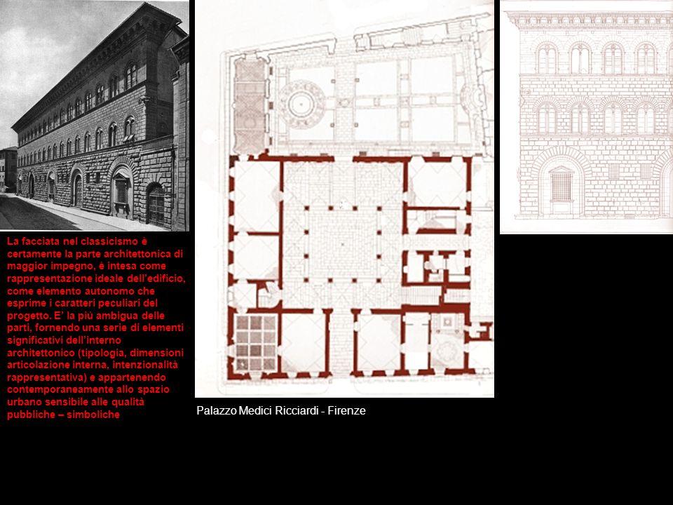 Palazzo Medici Ricciardi - Firenze La facciata nel classicismo è certamente la parte architettonica di maggior impegno, è intesa come rappresentazione