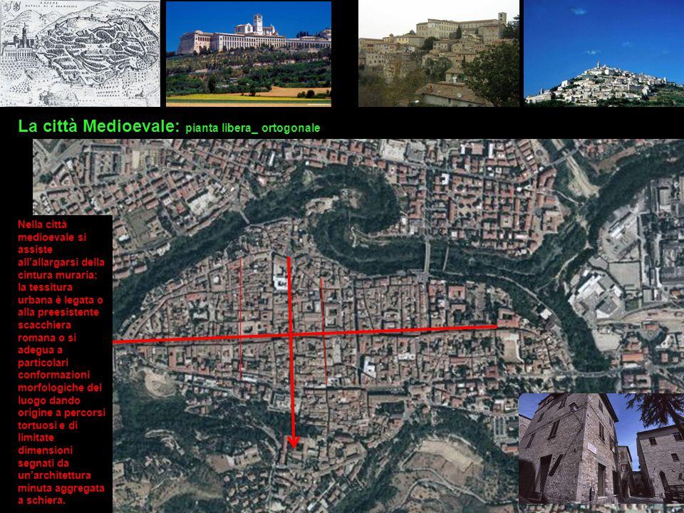 La città Medioevale: pianta libera_ ortogonale Nella città medioevale si assiste all'allargarsi della cintura muraria; la tessitura urbana è legata o