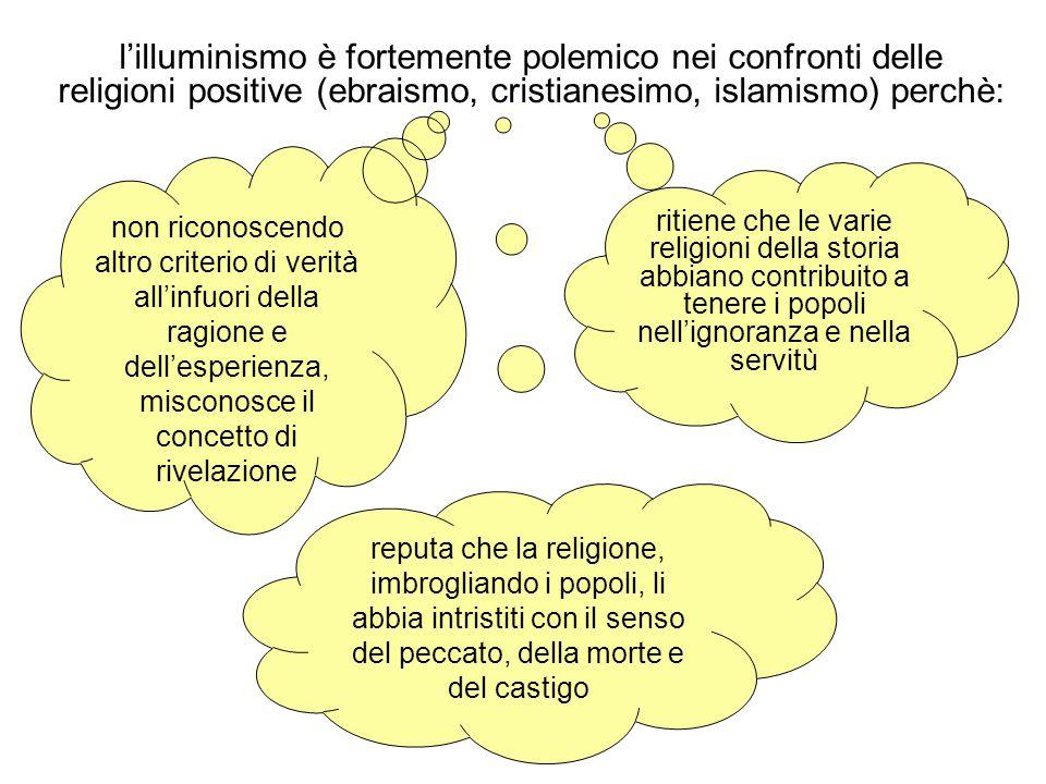 l'illuminismo è fortemente polemico nei confronti delle religioni positive (ebraismo, cristianesimo, islamismo) perchè: non riconoscendo altro criteri