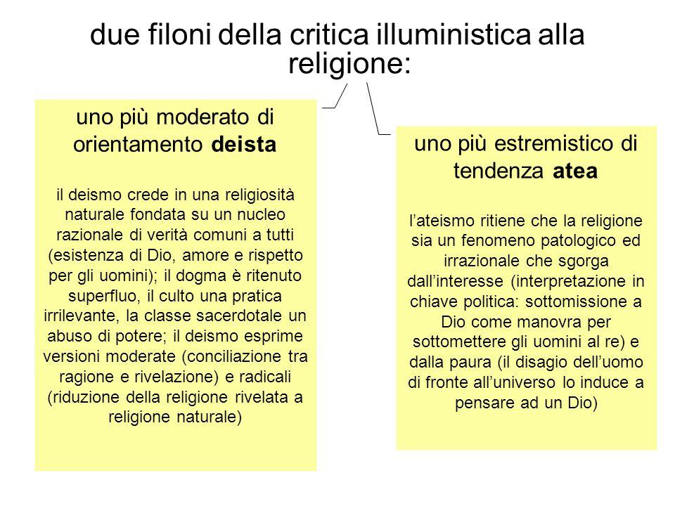 due filoni della critica illuministica alla religione: uno più moderato di orientamento deista il deismo crede in una religiosità naturale fondata su