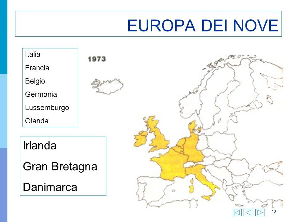 13 EUROPA DEI NOVE Irlanda Gran Bretagna Danimarca Italia Francia Belgio Germania Lussemburgo Olanda