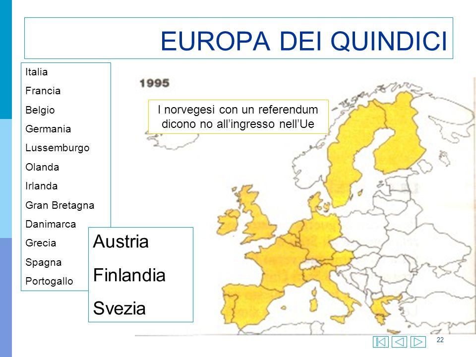 22 EUROPA DEI QUINDICI Italia Francia Belgio Germania Lussemburgo Olanda Irlanda Gran Bretagna Danimarca Grecia Spagna Portogallo Austria Finlandia Sv