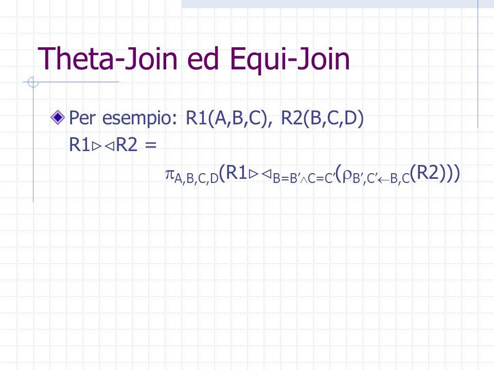 Theta-Join ed Equi-Join Per esempio: R1(A,B,C), R2(B,C,D) R1  R2 =  A,B,C,D (R1  B=B'  C=C' (  B',C'  B,C (R2)))