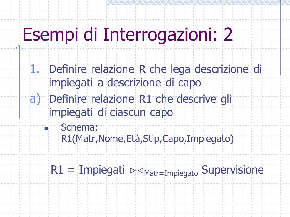 Esempi di Interrogazioni: 2 1. Definire relazione R che lega descrizione di impiegati a descrizione di capo a) Definire relazione R1 che descrive gli