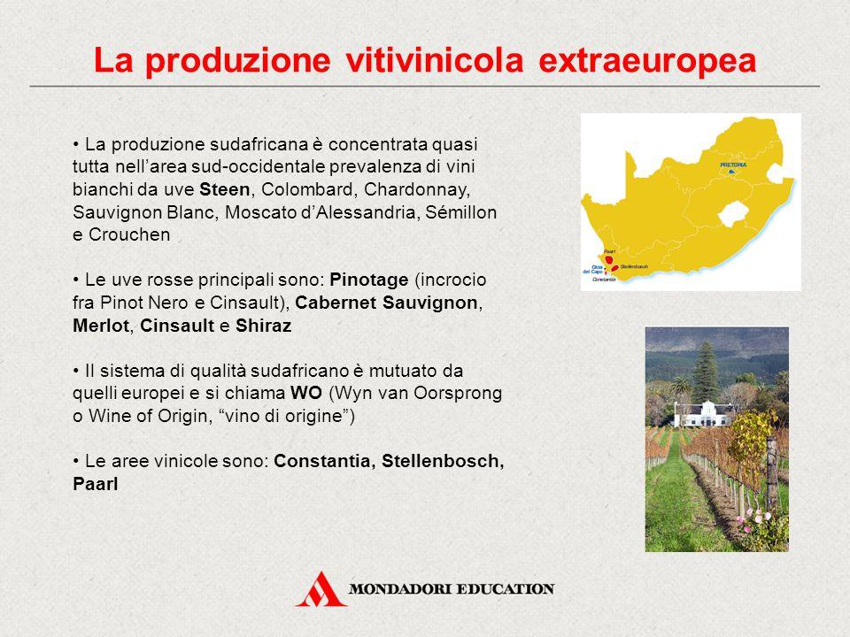 La produzione vitivinicola extraeuropea La produzione sudafricana è concentrata quasi tutta nell'area sud-occidentale prevalenza di vini bianchi da uve Steen, Colombard, Chardonnay, Sauvignon Blanc, Moscato d'Alessandria, Sémillon e Crouchen Le uve rosse principali sono: Pinotage (incrocio fra Pinot Nero e Cinsault), Cabernet Sauvignon, Merlot, Cinsault e Shiraz Il sistema di qualità sudafricano è mutuato da quelli europei e si chiama WO (Wyn van Oorsprong o Wine of Origin, vino di origine ) Le aree vinicole sono: Constantia, Stellenbosch, Paarl