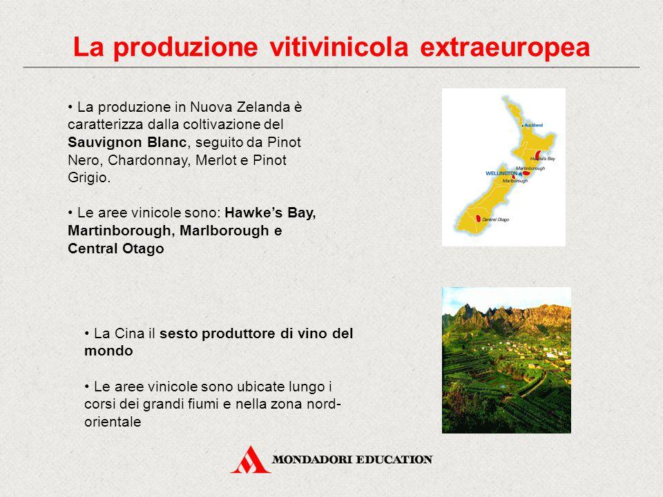 La produzione vitivinicola extraeuropea La produzione in Nuova Zelanda è caratterizza dalla coltivazione del Sauvignon Blanc, seguito da Pinot Nero, Chardonnay, Merlot e Pinot Grigio.