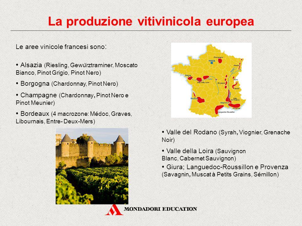 La produzione vitivinicola europea Le aree vinicole francesi sono : Alsazia (Riesling, Gewu ̈ rztraminer, Moscato Bianco, Pinot Grigio, Pinot Nero) Borgogna (Chardonnay, Pinot Nero) Champagne (Chardonnay, Pinot Nero e Pinot Meunier) Bordeaux (4 macrozone: Médoc, Graves, Libournais, Entre- Deux-Mers) Valle del Rodano (Syrah, Viognier, Grenache Noir) Valle della Loira (Sauvignon Blanc, Cabernet Sauvignon) Giura; Languedoc-Roussillon e Provenza (Savagnin, Muscat à Petits Grains, Sémillon)