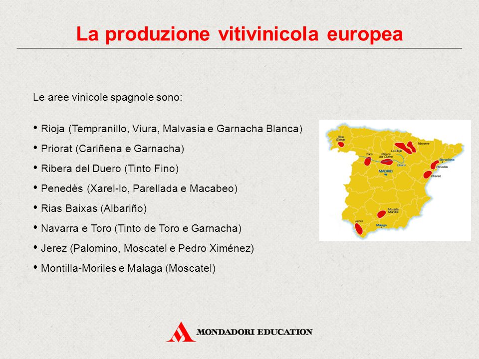 Le aree vinicole spagnole sono: Rioja (Tempranillo, Viura, Malvasia e Garnacha Blanca) Priorat (Cariñena e Garnacha) Ribera del Duero (Tinto Fino) Penedès (Xarel-lo, Parellada e Macabeo) Rias Baixas (Albariño) Navarra e Toro (Tinto de Toro e Garnacha) Jerez (Palomino, Moscatel e Pedro Ximénez) Montilla-Moriles e Malaga (Moscatel)