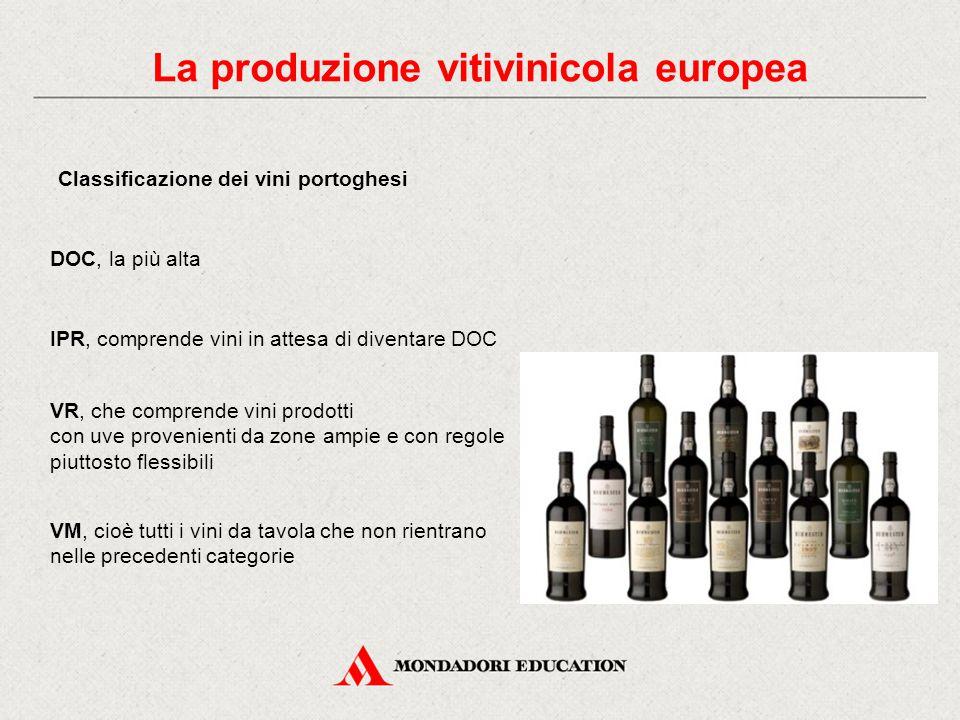 La produzione vitivinicola europea Classificazione dei vini portoghesi DOC, la più alta IPR, comprende vini in attesa di diventare DOC VR, che comprende vini prodotti con uve provenienti da zone ampie e con regole piuttosto flessibili VM, cioè tutti i vini da tavola che non rientrano nelle precedenti categorie