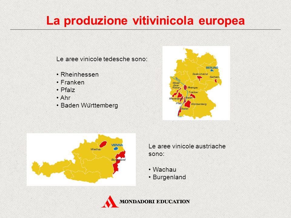 La produzione vitivinicola europea Le aree vinicole tedesche sono: Rheinhessen Franken Pfalz Ahr Baden Wu ̈ rttemberg Le aree vinicole austriache sono: Wachau Burgenland