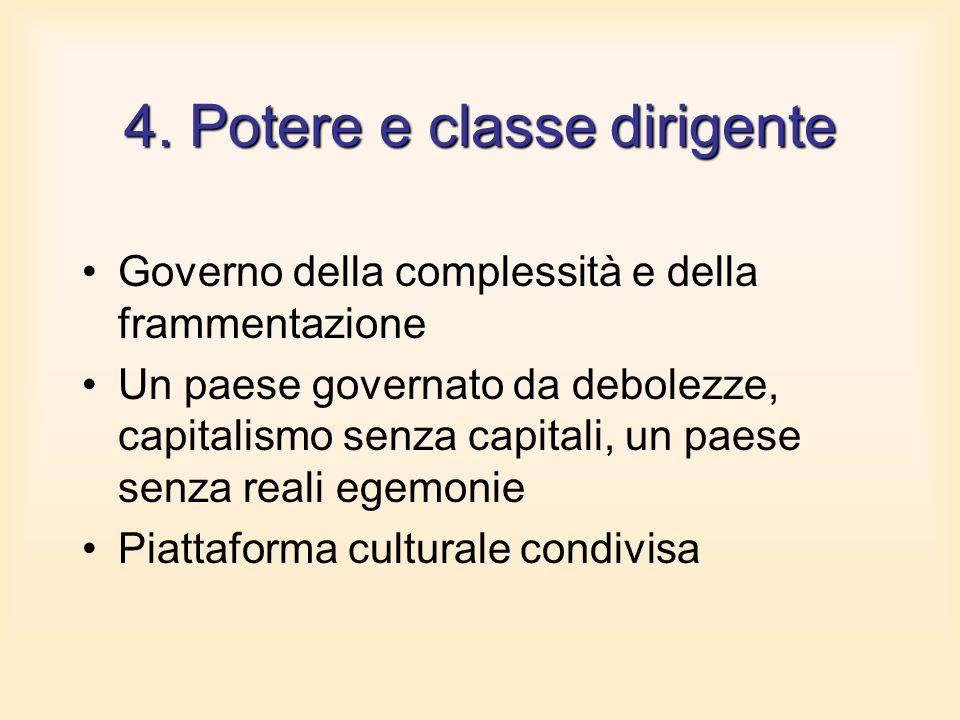 4. Potere e classe dirigente Governo della complessità e della frammentazione Un paese governato da debolezze, capitalismo senza capitali, un paese se