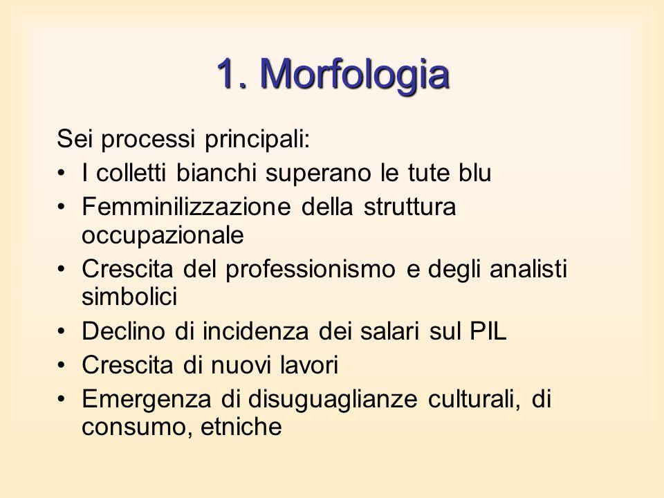 1. Morfologia Sei processi principali: I colletti bianchi superano le tute blu Femminilizzazione della struttura occupazionale Crescita del profession