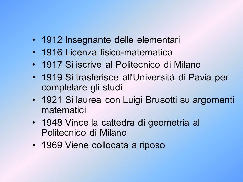 1912 Insegnante delle elementari 1916 Licenza fisico-matematica 1917 Si iscrive al Politecnico di Milano 1919 Si trasferisce all'Università di Pavia p