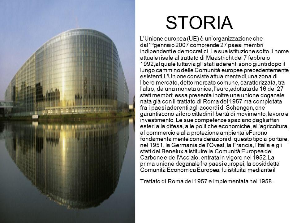 STORIA L'Unione europea (UE) è un'organizzazione che dal1ºgennaio 2007 comprende 27 paesi membri indipendenti e democratici. La sua istituzione sotto