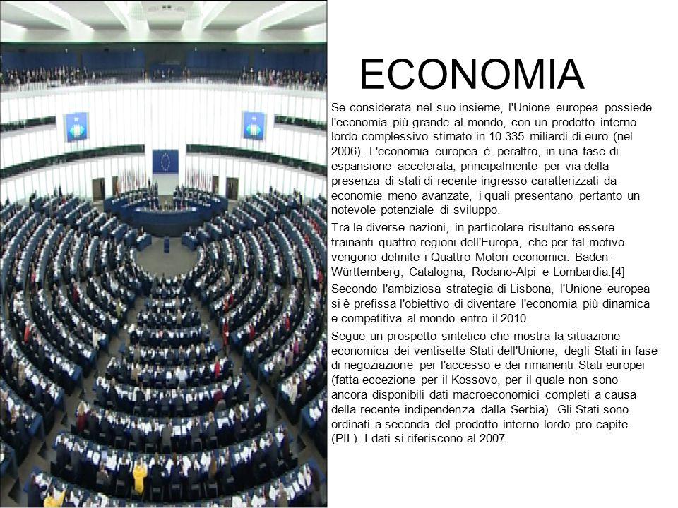 ECONOMIA Se considerata nel suo insieme, l'Unione europea possiede l'economia più grande al mondo, con un prodotto interno lordo complessivo stimato i