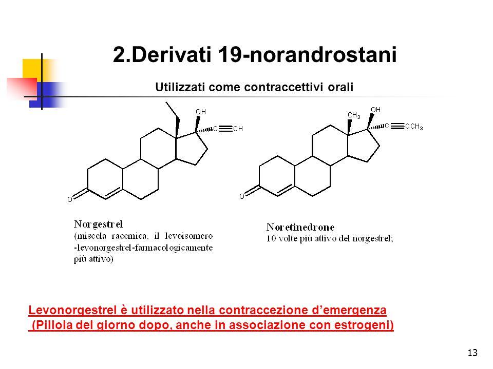 2.Derivati 19-norandrostani Utilizzati come contraccettivi orali Levonorgestrel è utilizzato nella contraccezione d'emergenza (Pillola del giorno dopo, anche in associazione con estrogeni) 13
