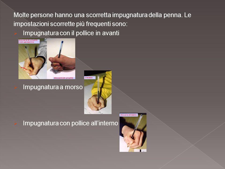 Molte persone hanno una scorretta impugnatura della penna. Le impostazioni scorrette più frequenti sono:  Impugnatura con il pollice in avanti  Impu