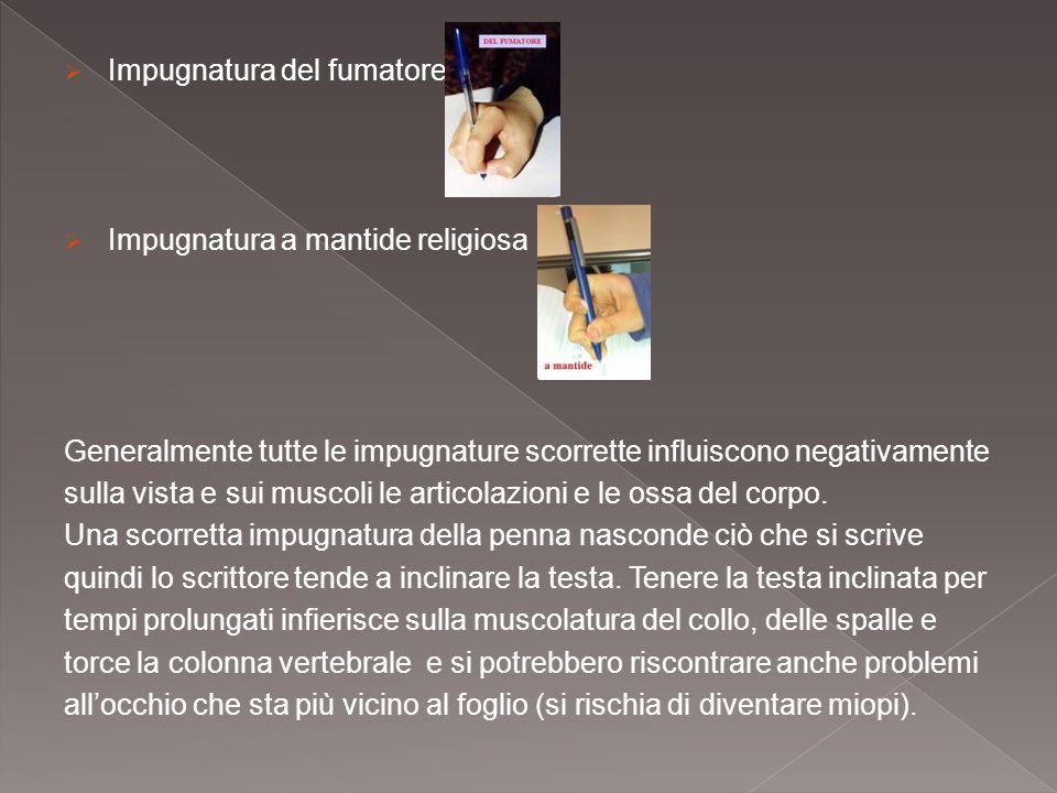  Impugnatura del fumatore  Impugnatura a mantide religiosa Generalmente tutte le impugnature scorrette influiscono negativamente sulla vista e sui m