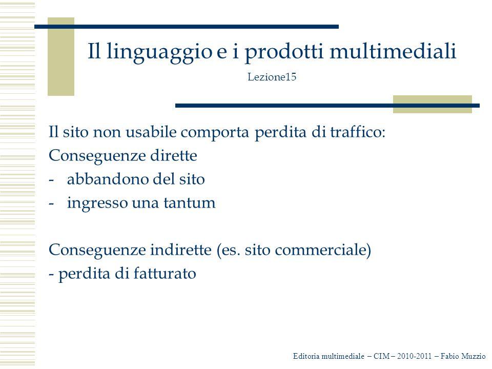 Il linguaggio e i prodotti multimediali Lezione15 Il sito non usabile comporta perdita di traffico: Conseguenze dirette -abbandono del sito -ingresso una tantum Conseguenze indirette (es.