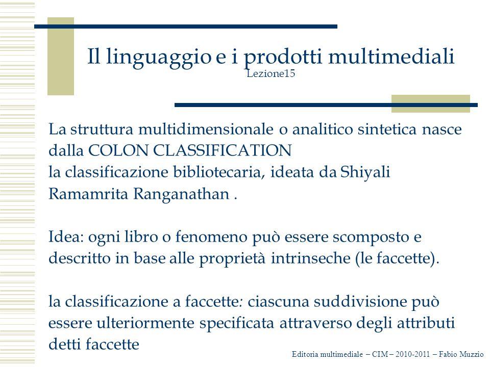 Il linguaggio e i prodotti multimediali Lezione15 La struttura multidimensionale o analitico sintetica nasce dalla COLON CLASSIFICATION la classificazione bibliotecaria, ideata da Shiyali Ramamrita Ranganathan.