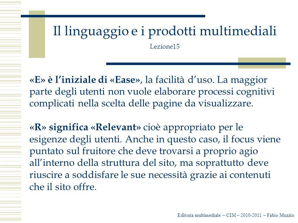 Il linguaggio e i prodotti multimediali Lezione15 Per la creazione di un sito occorre stabilire: I servizi da offrire agli utenti, per esempio -Forum -Newsletter -Link -Faq -Blog -Form -Ecc Editoria multimediale – CIM – 2010-2011 – Fabio Muzzio