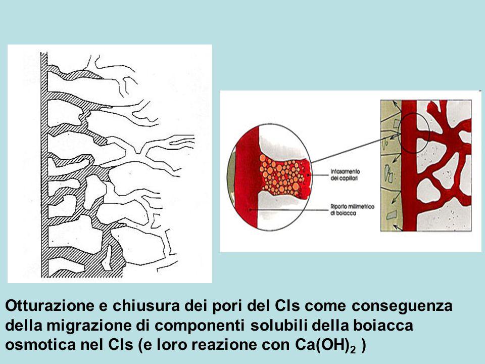 Otturazione e chiusura dei pori del Cls come conseguenza della migrazione di componenti solubili della boiacca osmotica nel Cls (e loro reazione con C