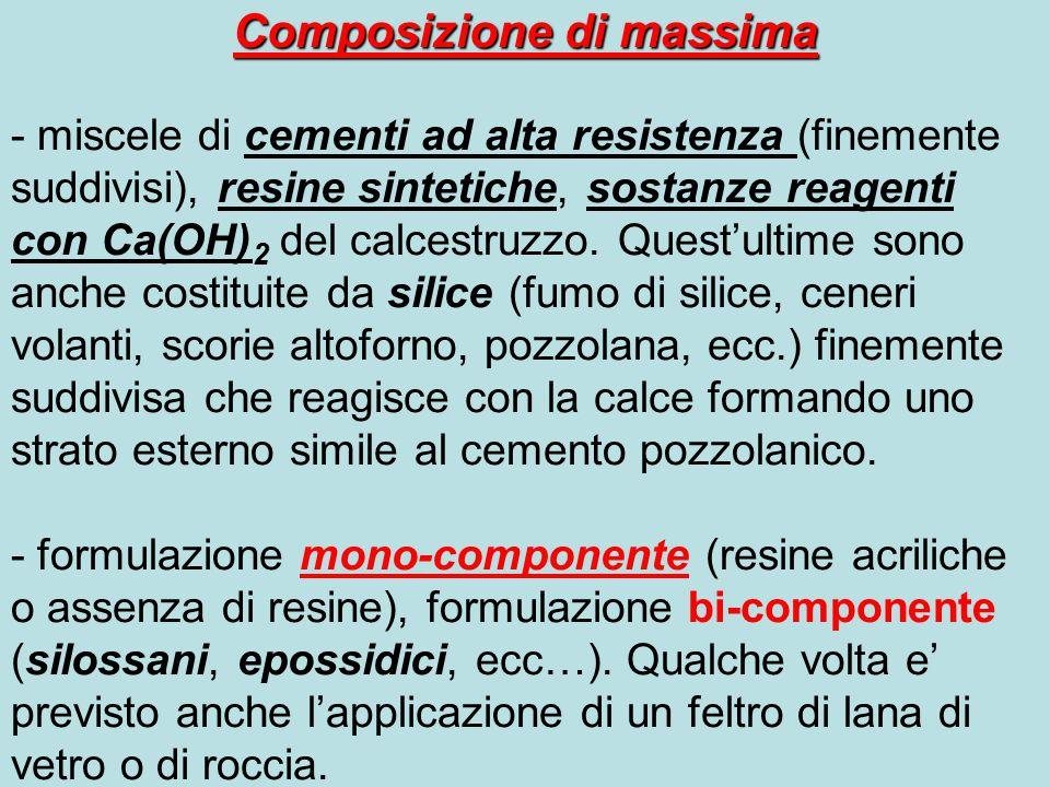 Composizione di massima - miscele di cementi ad alta resistenza (finemente suddivisi), resine sintetiche, sostanze reagenti con Ca(OH) 2 del calcestru
