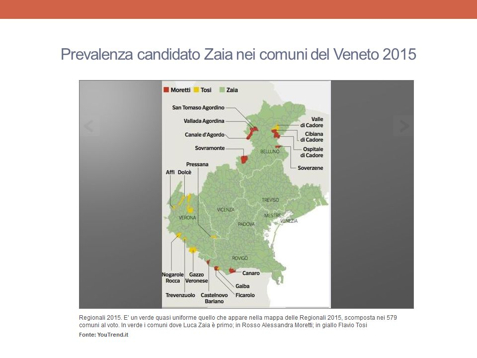 Prevalenza candidato Zaia nei comuni del Veneto 2015