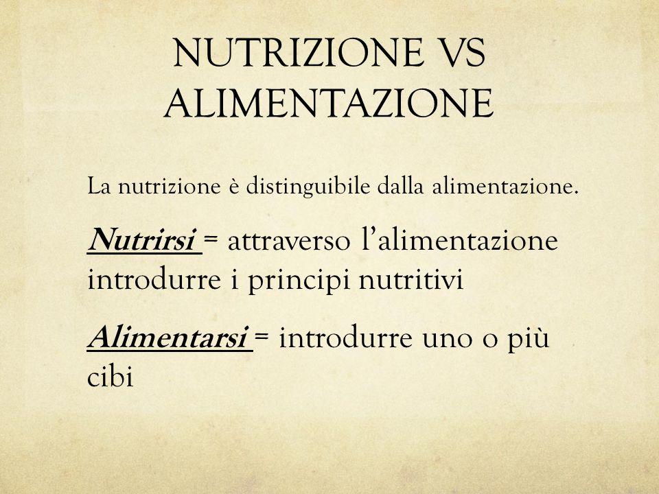 NUTRIZIONE VS ALIMENTAZIONE La nutrizione è distinguibile dalla alimentazione. Nutrirsi = attraverso l'alimentazione introdurre i principi nutritivi A