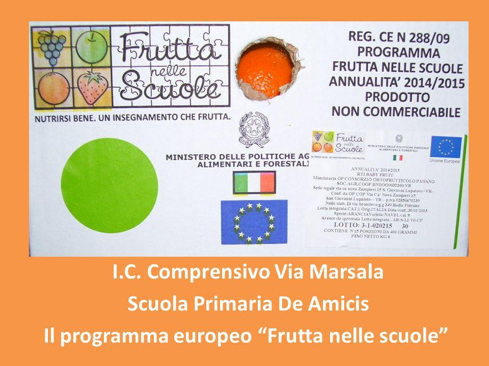 """I.C. Comprensivo Via Marsala Scuola Primaria De Amicis Il programma europeo """"Frutta nelle scuole"""""""