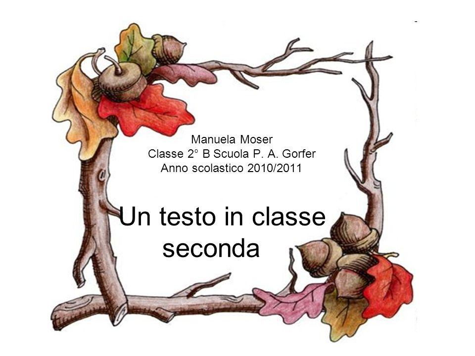Un testo in classe seconda Manuela Moser Classe 2° B Scuola P. A. Gorfer Anno scolastico 2010/2011