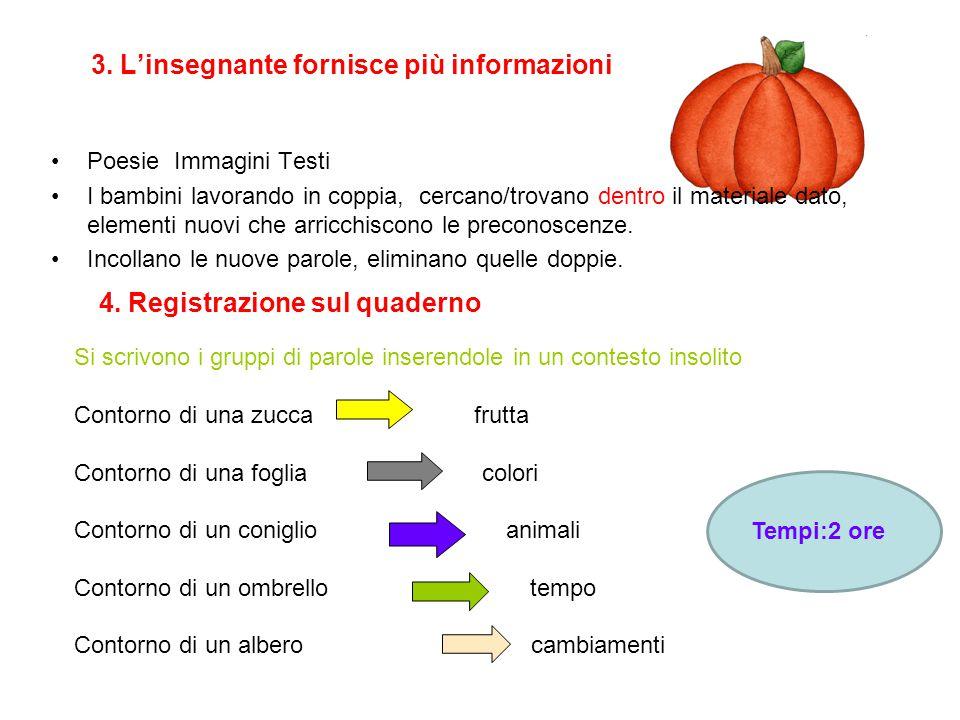 3. L'insegnante fornisce più informazioni Poesie Immagini Testi I bambini lavorando in coppia, cercano/trovano dentro il materiale dato, elementi nuov