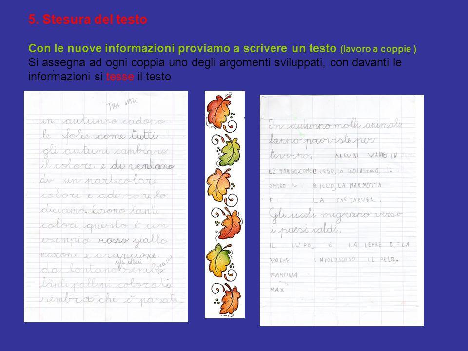 5. Stesura del testo Con le nuove informazioni proviamo a scrivere un testo (lavoro a coppie ) Si assegna ad ogni coppia uno degli argomenti sviluppat