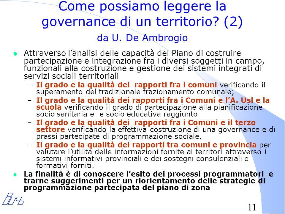 11 Come possiamo leggere la governance di un territorio.