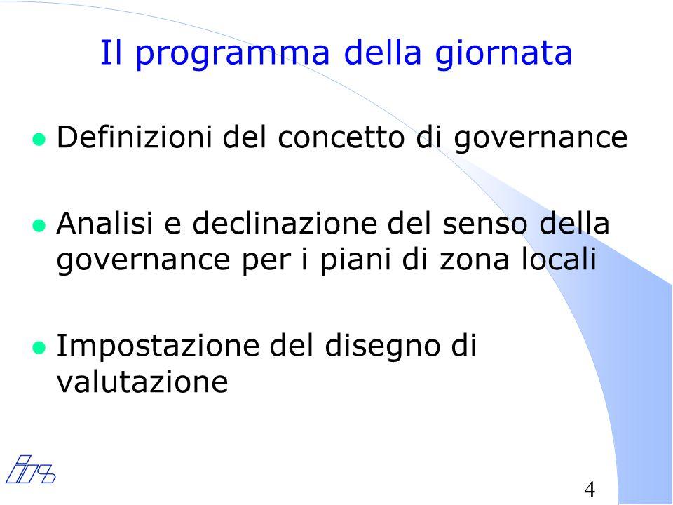 5 La mutata natura delle politiche pubbliche e l'incertezza relativamente agli esiti delle azioni, ha portato a considerare indesiderabile la autosufficienza dello Stato nella soluzione dei problemi collettivi… da qui nasce il dibattito attorno al concetto di governance