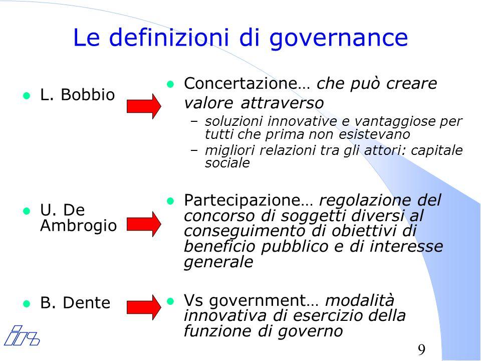 9 Le definizioni di governance l L. Bobbio l U. De Ambrogio l B.