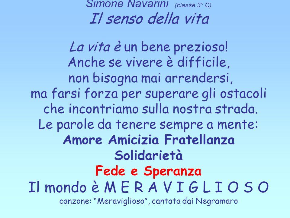 Simone Navarini (classe 3° C) Il senso della vita La vita è un bene prezioso! Anche se vivere è difficile, non bisogna mai arrendersi, ma farsi forza