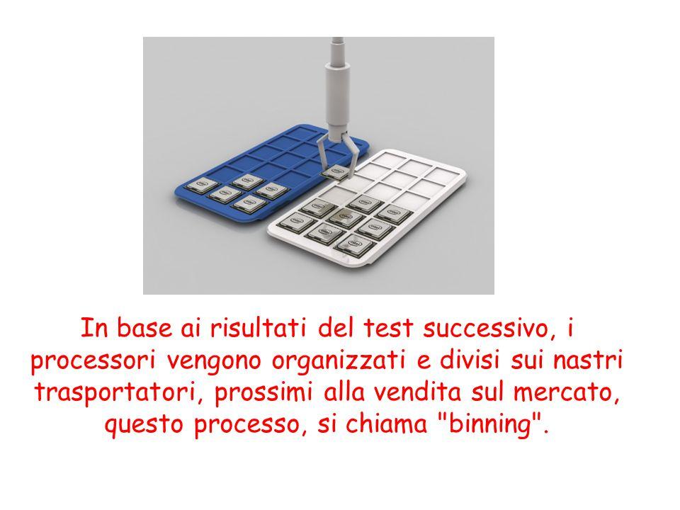 In base ai risultati del test successivo, i processori vengono organizzati e divisi sui nastri trasportatori, prossimi alla vendita sul mercato, quest