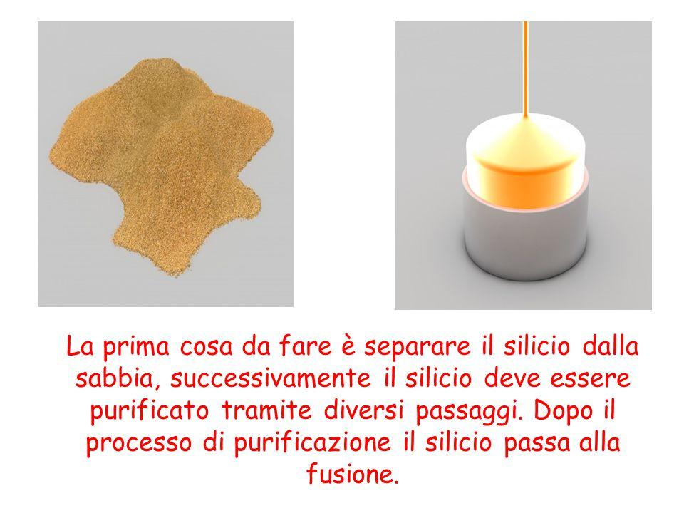 La prima cosa da fare è separare il silicio dalla sabbia, successivamente il silicio deve essere purificato tramite diversi passaggi. Dopo il processo