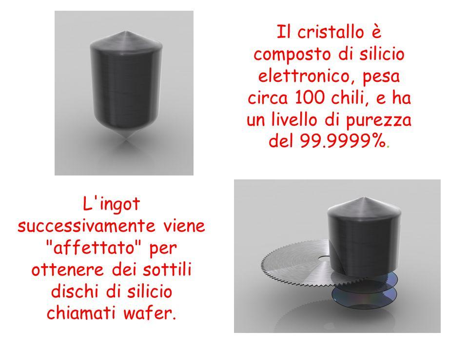 Il cristallo è composto di silicio elettronico, pesa circa 100 chili, e ha un livello di purezza del 99.9999%. L'ingot successivamente viene