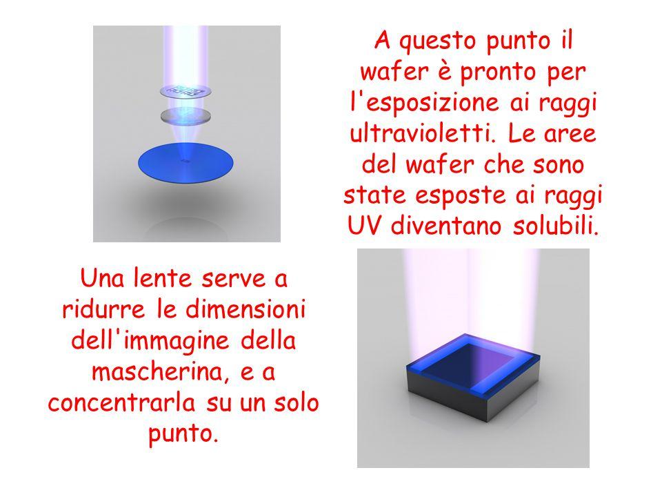 Dopo l esposizione ai raggi UV, le aree esposte vengono sciolte ed eliminate usando un solvente specifico.