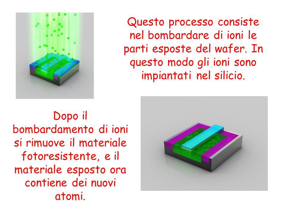 Questo processo consiste nel bombardare di ioni le parti esposte del wafer. In questo modo gli ioni sono impiantati nel silicio. Dopo il bombardamento