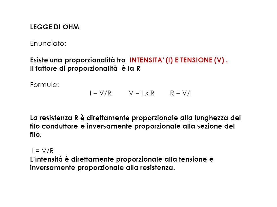 LEGGE DI OHM Enunciato: Esiste una proporzionalità tra INTENSITA' (I) E TENSIONE (V). Il fattore di proporzionalità è la R Formule: I = V/R V = I x R
