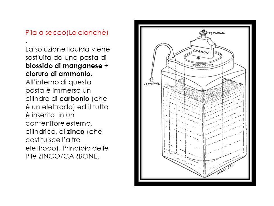 Pila a secco(La clanchè). La soluzione liquida viene sostiuita da una pasta di biossido di manganese + cloruro di ammonio. All'interno di questa pasta