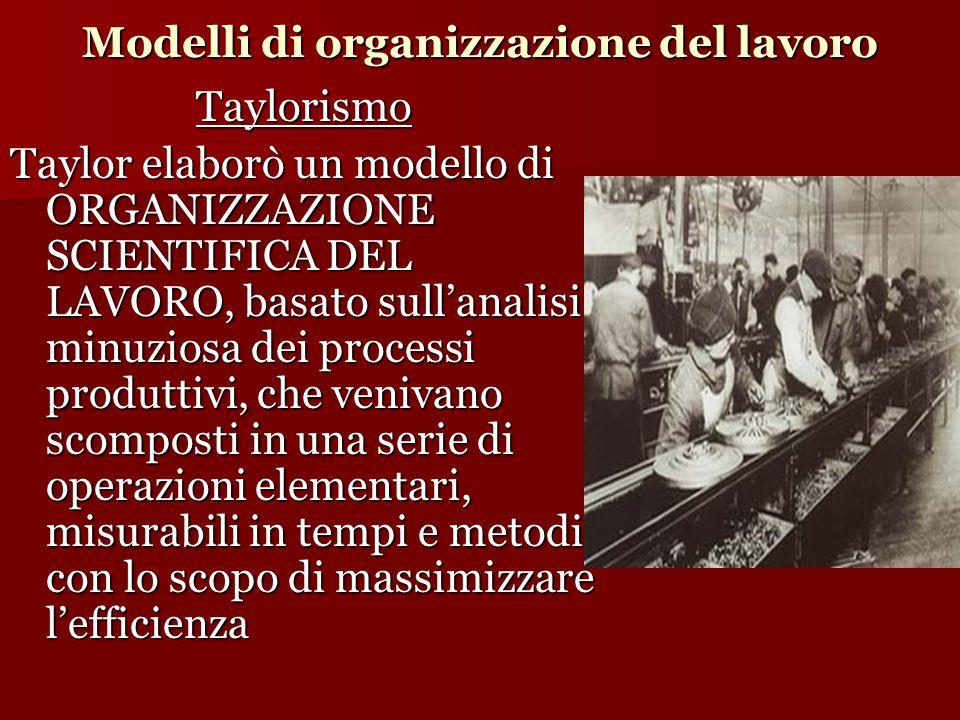 Modelli di organizzazione del lavoro Taylorismo Taylor elaborò un modello di ORGANIZZAZIONE SCIENTIFICA DEL LAVORO, basato sull'analisi minuziosa dei processi produttivi, che venivano scomposti in una serie di operazioni elementari, misurabili in tempi e metodi, con lo scopo di massimizzare l'efficienza