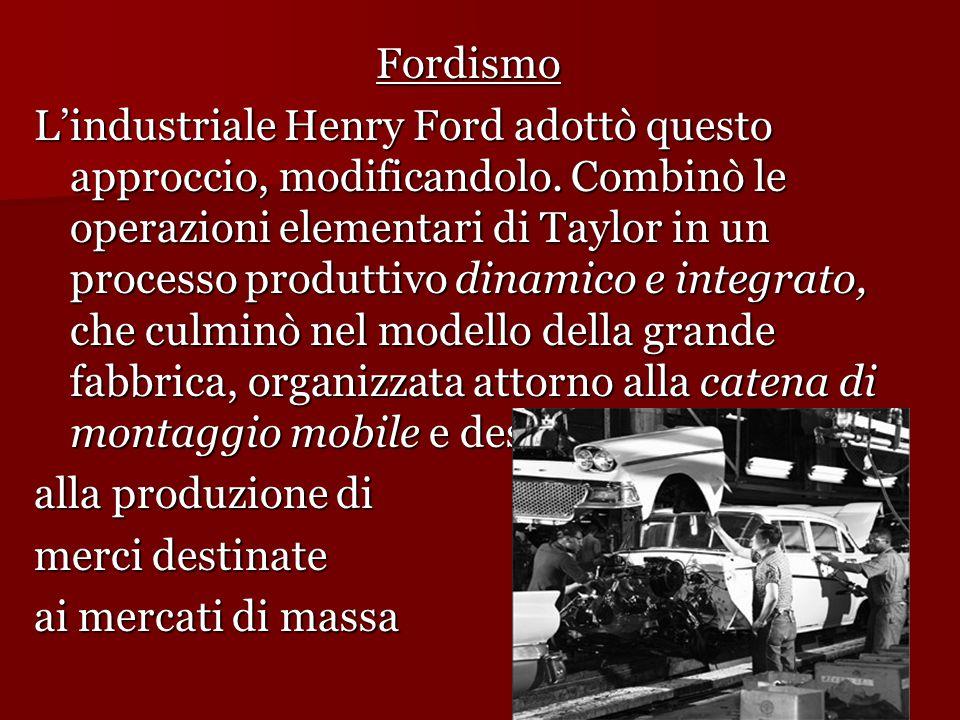 Fordismo L'industriale Henry Ford adottò questo approccio, modificandolo. Combinò le operazioni elementari di Taylor in un processo produttivo dinamic