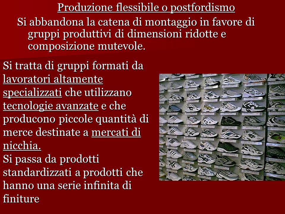 Produzione flessibile o postfordismo Si abbandona la catena di montaggio in favore di gruppi produttivi di dimensioni ridotte e composizione mutevole.