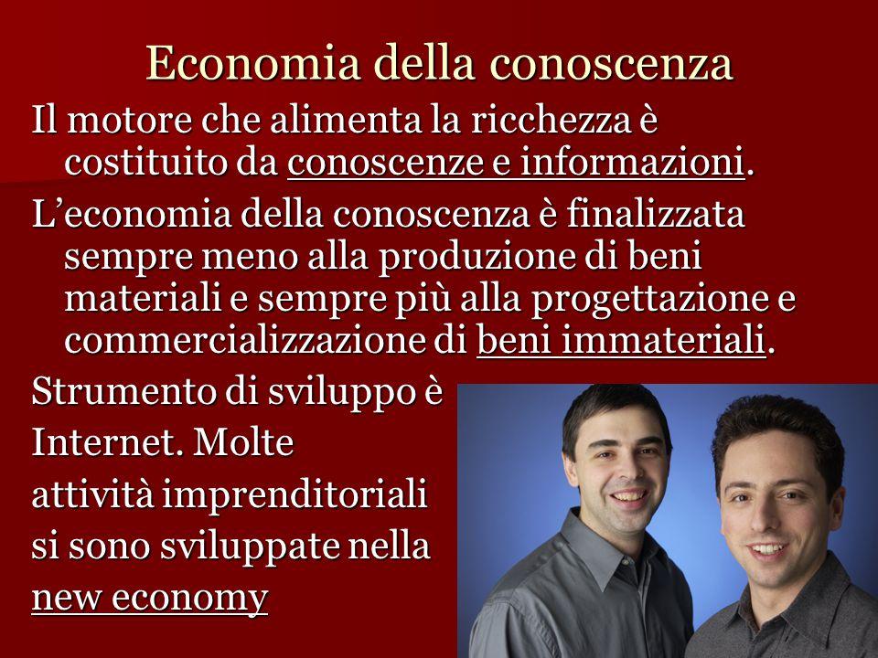 Economia della conoscenza Il motore che alimenta la ricchezza è costituito da conoscenze e informazioni. L'economia della conoscenza è finalizzata sem