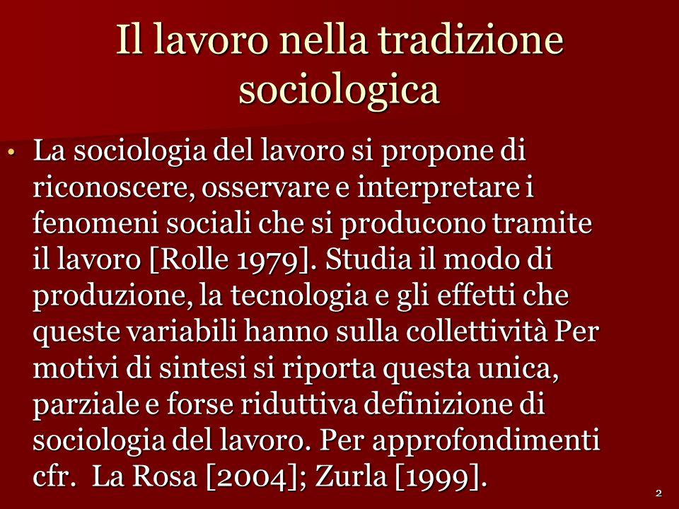 Il lavoro nella tradizione sociologica La sociologia del lavoro si propone di riconoscere, osservare e interpretare i fenomeni sociali che si producono tramite il lavoro [Rolle 1979].