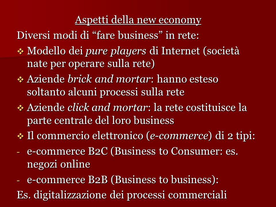 """Aspetti della new economy Diversi modi di """"fare business"""" in rete:  Modello dei pure players di Internet (società nate per operare sulla rete)  Azie"""